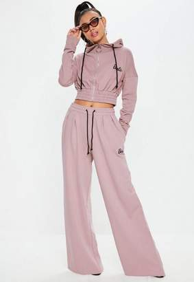Missguided Barbie x Pink Wide Leg Drawstring Joggers