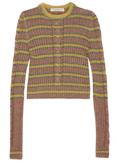 Philosophy di Lorenzo Serafini - Metallic Striped Cable-knit Sweater - Yellow