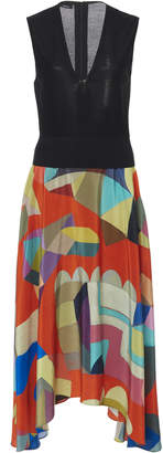 Akris Printed Silk Midi Dress