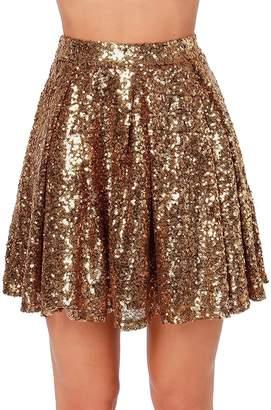 SUJAN Women's Pinup Dress Sequins Mini Half Skirt Pleated Sunskirt L
