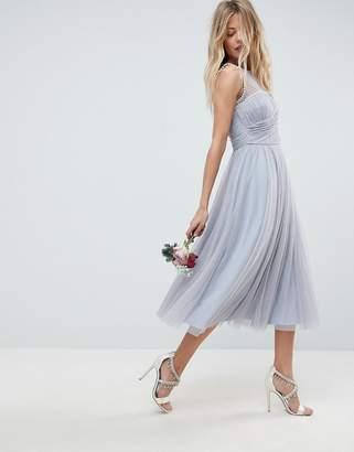 Asos Design DESIGN Bridesmaid midi prom dress with pearl trim