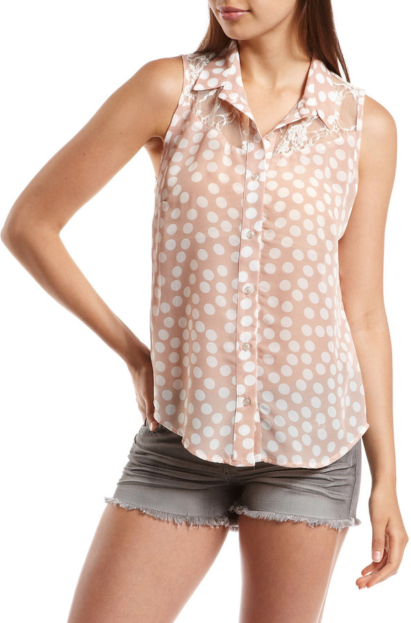 Polka Dot Button-Down Blouse