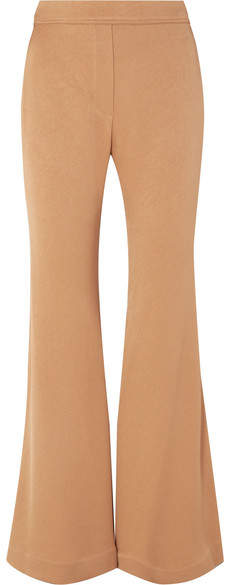 Domenico Stretch-crepe Flared Pants - Sand