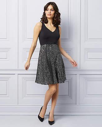 Le Château Sequins & Mesh Fit & Flare Cocktail Dress