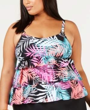 Island Escape Swimwear Plus Size Bahama Printed Three-Tiered Tankini Top, Created for Macy's Women's Swimsuit