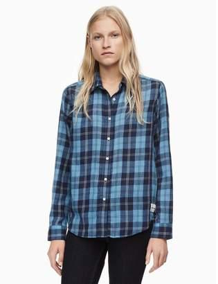 Calvin Klein flannel linear plaid button-down shirt