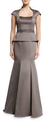 La Femme Cap-Sleeve Satin Peplum Gown, Pewter $478 thestylecure.com