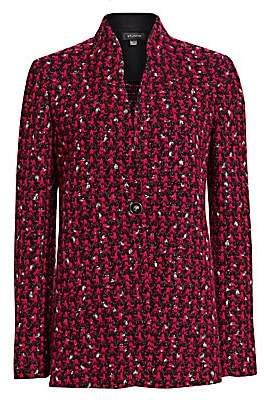 St. John Women's Textured Bouclé Houndstooth Jacket - Size 0