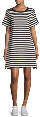 Moncler Moncler Short-Sleeve Striped Two-Tone Shift Dress, Cadet