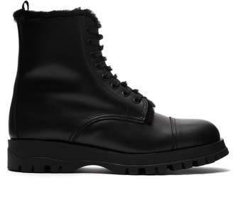 Prada Shearing-lined leather lace-up ankle boots