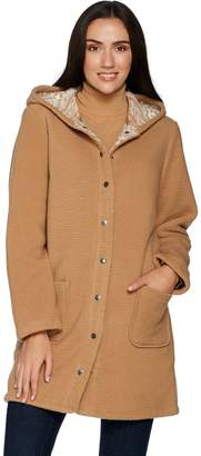 Denim & Co. Sherpa Bonded w/ Printed Fleece Hooded Snap Front Coat