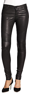 Vince Leather Motocross-Style Skinny Jeans