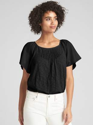 Gap Flutter Sleeve Lace-Trim Square-Neck Top