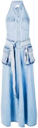 Diesel belted denim maxi dress