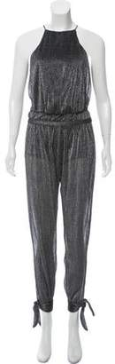 Halston Sleeveless Metallic Jumpsuit