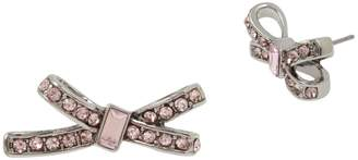 Betsey Johnson Silvertone Crystal Bow Stud Earrings