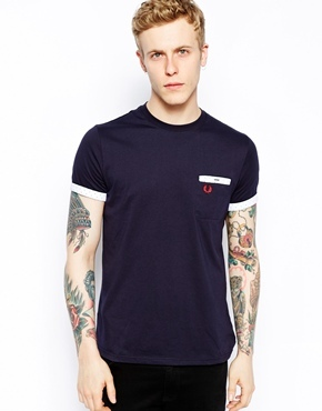 Fred Perry T-Shirt with Polka Dot Trim - Navy