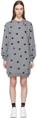 McQ Grey Mini Swallow Sweatshirt Dress