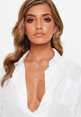 Missguided Rose Gold Look Diamante Multirow Necklace