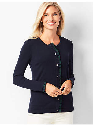 Talbots Cotton Plaid-Trim Cardigan