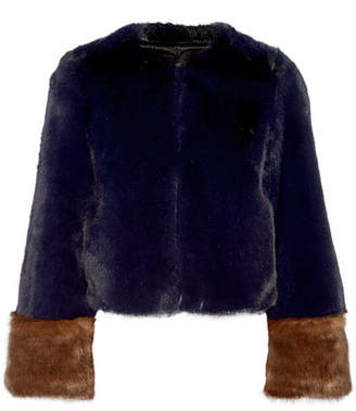 STAUD - Juliette Two-tone Faux Fur Coat - Navy