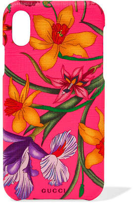 Gucci Floral-print Textured Iphone 10 Case - Bright pink