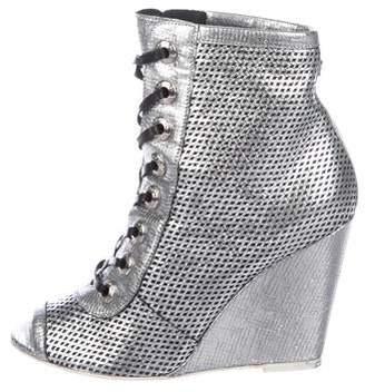 Chanel CC Metallic Leather Peep-Toe Wedge Booties