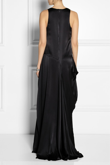 Vera Wang Draped silk-satin gown