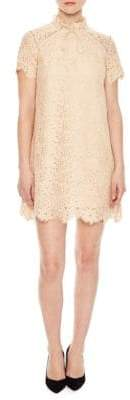 Sandro High-Neck Lace Shift Dress