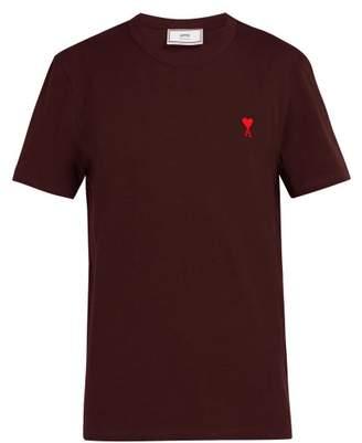 Ami De Coeur Embroidered Cotton T Shirt - Mens - Dark Purple