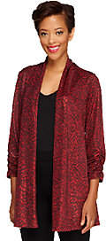 Susan Graver Foil Printed Knit Cardigan w/Ruched Sleeves