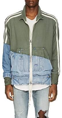 Greg Lauren Men's Cotton Terry & Denim Track Jacket - Olive