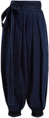 J.W.Anderson Wide-leg pleated tie-cuff denim trousers
