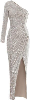Rasario One Shoulder Draped Sequined Gown Size: 44