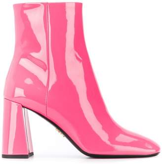 Prada patent leather zipped booties