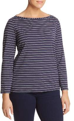 Marina Rinaldi Valente Printed & Metallic Stripe Long-Sleeve Tee