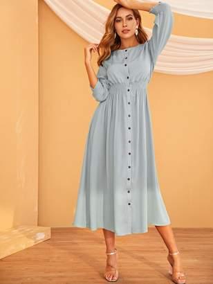 Shein Elastic Waist Button Front Shirt Dress
