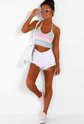 Pink Boutique Candy Baby Multi Stripe Knitted Halterneck Crop Top ddf03f460