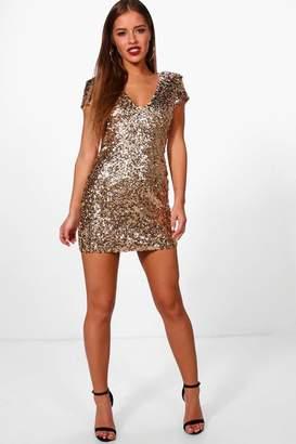 boohoo Petite Hannah Sequin Shoulder Pad Bodycon Dress