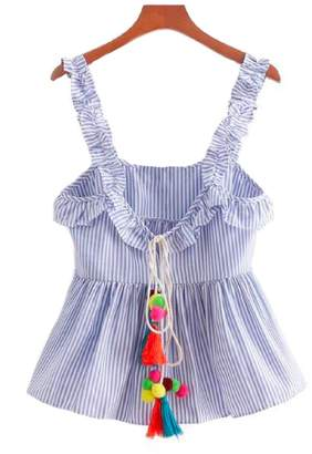 Goodnight Macaroon 'Opal' Tassel and Pom Pom Frilly Shoulder Strap Striped Peplum Top
