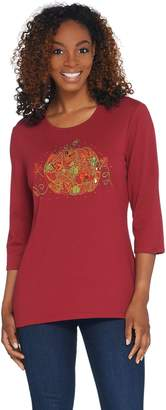 Factory Quacker Falling Leaves High-Low 3/4 Sleeve Top
