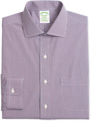 Brooks Brothers Men's Milano Extra-Slim Fit Non-Iron Stretch Broadcloth Red & Blue Gingham Dress Shirt