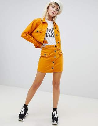Asos Design DESIGN denim jacket co-ord in mustard