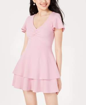 B. Darlin Juniors' Ruched Tiered Fit & Flare Dress