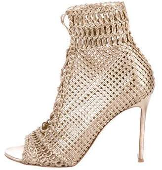 Gianvito Rossi Metallic Lace-Up Booties