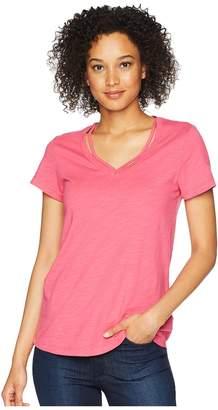 Mod-o-doc Slub Jersey Double V Short Sleeve Tee Women's T Shirt