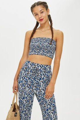Band of Gypsies Printed Shirred Bandeau Top by