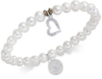 Paul & Pitu Naturally Two-Tone Freshwater Pearl (7mm) and Crystal Heart Stretch Bracelet