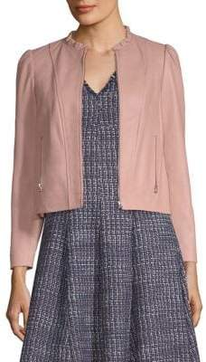 Rebecca Taylor Ruffled Neck Leather Jacket