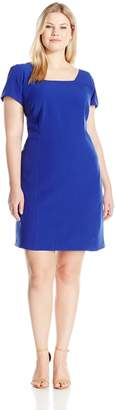 Adrianna Papell Women's Plus Size Square Neck Short Sleeve Shift Dress